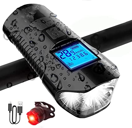LED Bike Light Bicycle Speedometer Cycling USB Rechargeable Headlight Taillight