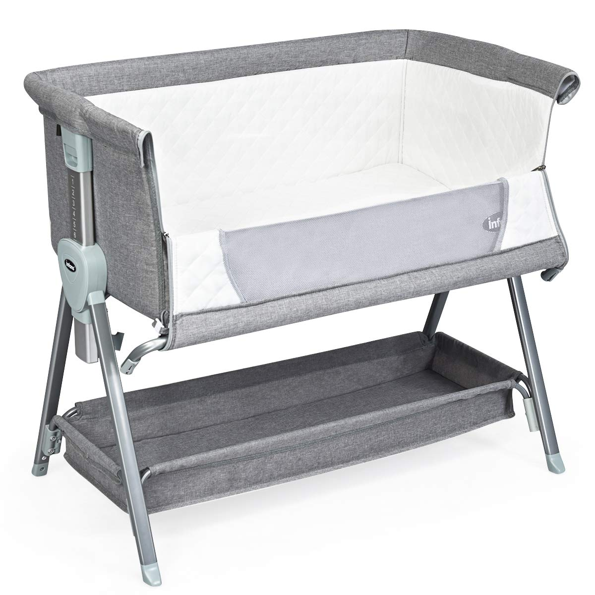 INFANS Baby Bedside Crib, Newborn Sleeper w Large Storage Basket, Adjustable Height Angle, Detachable Washable Mattress, Breathable Mesh, Straps, Easy Moving Bed Side Bassinet for Infant, Grey