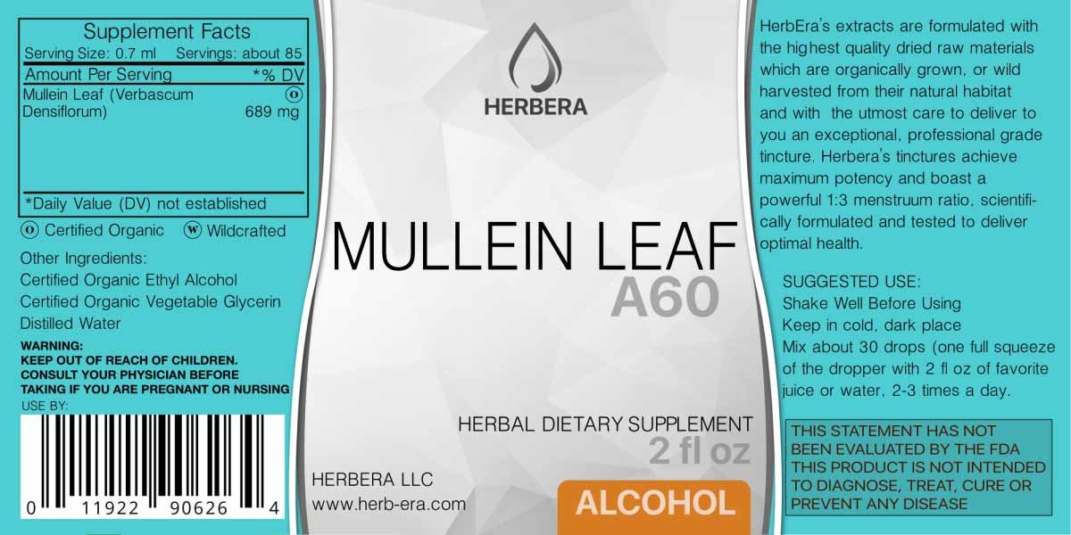 Amazon.com: Mullein Leaf A120 Alcohol Herbal Extract Tincture, Organic Mullein (Verbascum Densiflorum) Dried Leaf (4 fl oz): Health & Personal Care