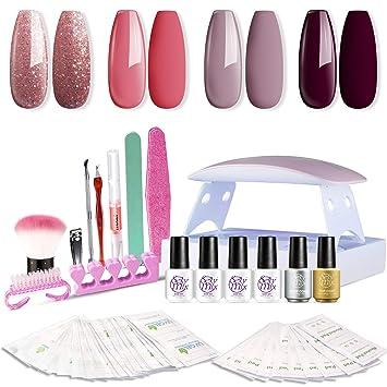 Sexy Mix Gel Nail Polish Kit With Uv Led Light Home Gel Nail Polish Kit Manicure Tools 4 Colors Gel Nail Polish Base And Top Coat Portable Kit For