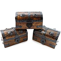 Well Pack Box Authentic Antique Style Wooden Pirate Treasure Chest Box With  Black Hasp Latch Includes