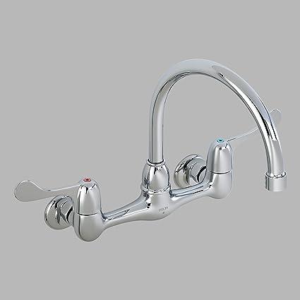 Delta 28P4902LF Commercial Chrome 28T Two Handle 8u0026quot; Wall Mount Service Sink  Faucet