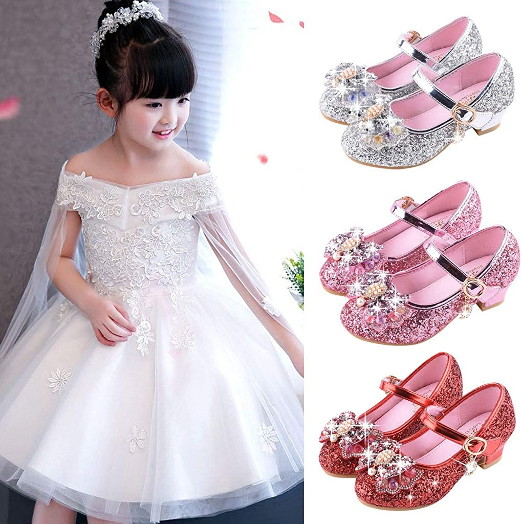 Girls Pearl Sequins Rhinestone Princess Shoes Single Bowknot Small Crystal Sandals8-13.5