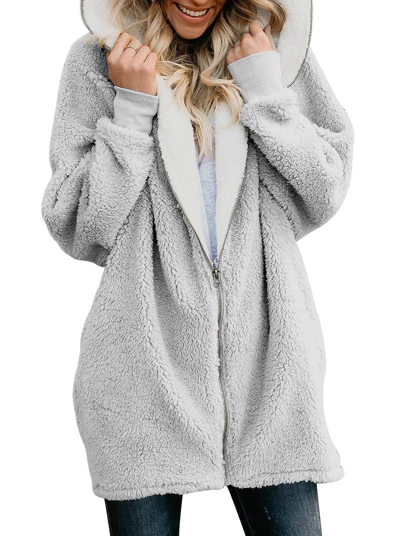 GOSOPIN Womens Solid Zipper Hooded Fluffy Cardigan Coat Long Sleeve Suits Outwear with Pocke