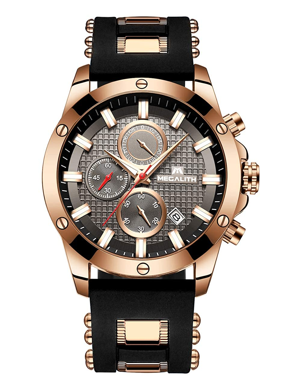 9552342027d Mens Watches Men Chronograph Waterproof Sports Designer Rose Gold Large  Face Luminous Date Wrist Watch Luxury Fashion Rubber Analogue Quartz Watches  for Man