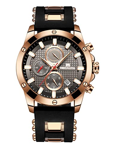 Relojes Hombre Relojes de Pulsera Impermeable Deportivo Cronógrafo Luminosos Reloj Hombre Grandes Diseñador Lujo Calendario Analógico con Correa de Goma: ...