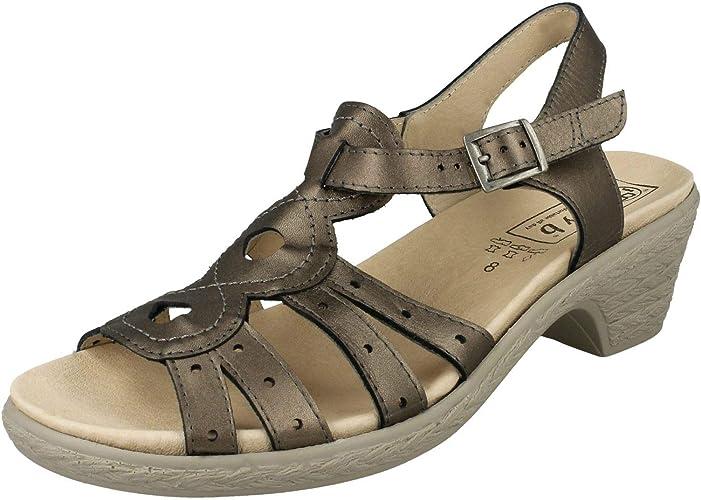 Ladies Easy B Wide Fit Heeled Sandals