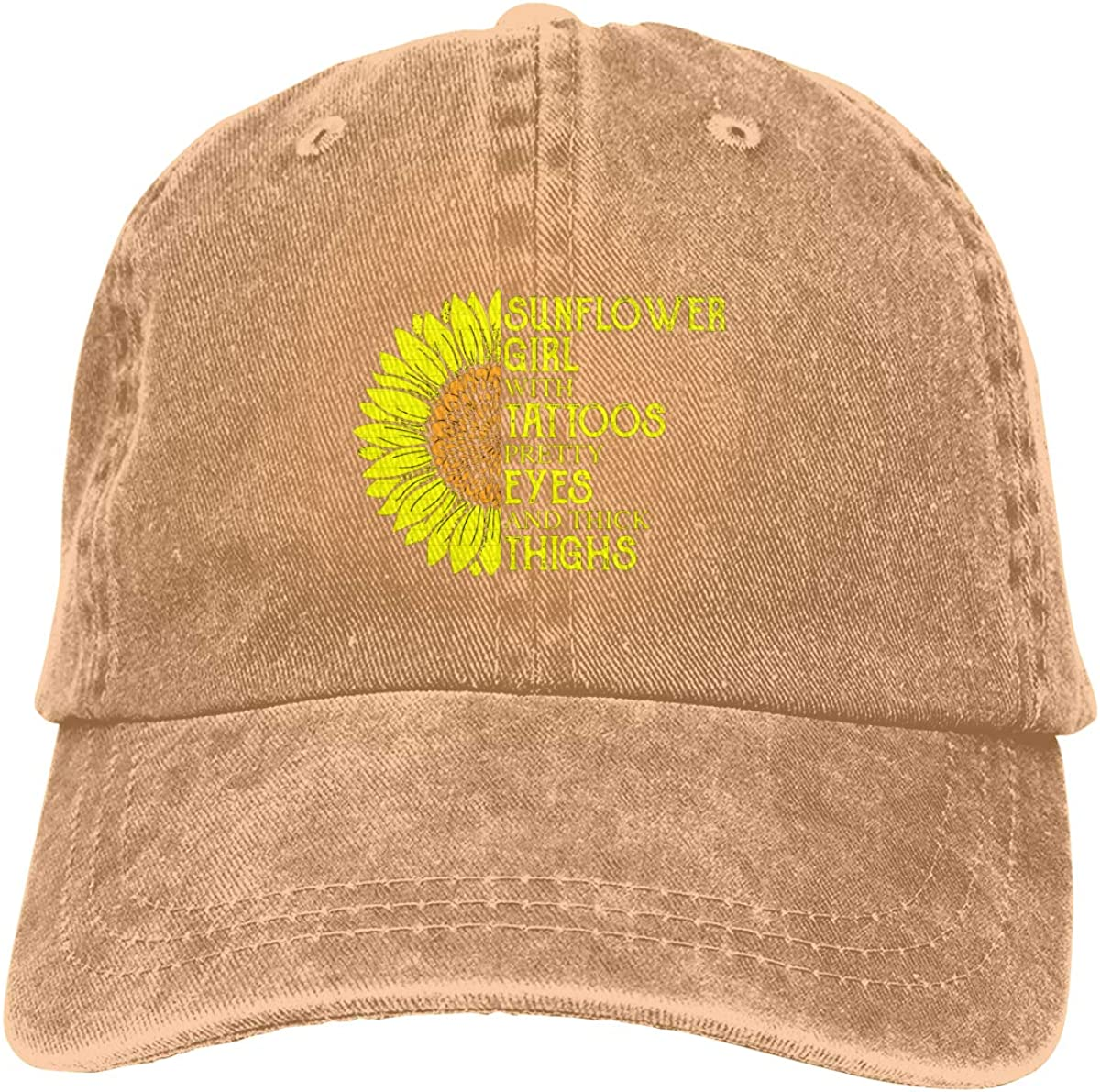 Sunflower Girl with Tattoos Pretty Eyes and Thick Thighs Unisex Soft Casquette Cap Vintage Adjustable Baseball Caps Cowboy Caps