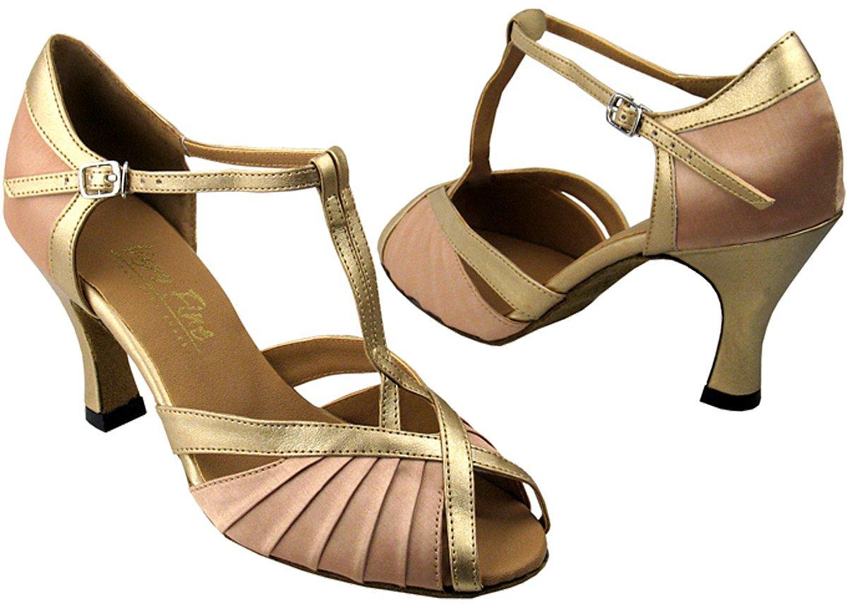 Very Fine Women's Salsa Ballroom Tango Latin Dance Shoes Style 2707 Bundle with Plastic Dance Shoe Heel Protectors B009B7MKBU 7 M US|Lightbrownsatin