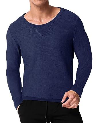 MODCHOK Herren Sweatshirt Pullover Langarmshirt Rundhalsausschnitt Pulli  Sport Sweater Pulli Top  Amazon.de  Bekleidung dd48fb0ee1