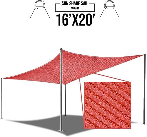 E K Sunrise 16 x 20 Red Sun Shade Sail Square Canopy – Permeable UV Block Fabric Durable Patio Outdoor Set of 1