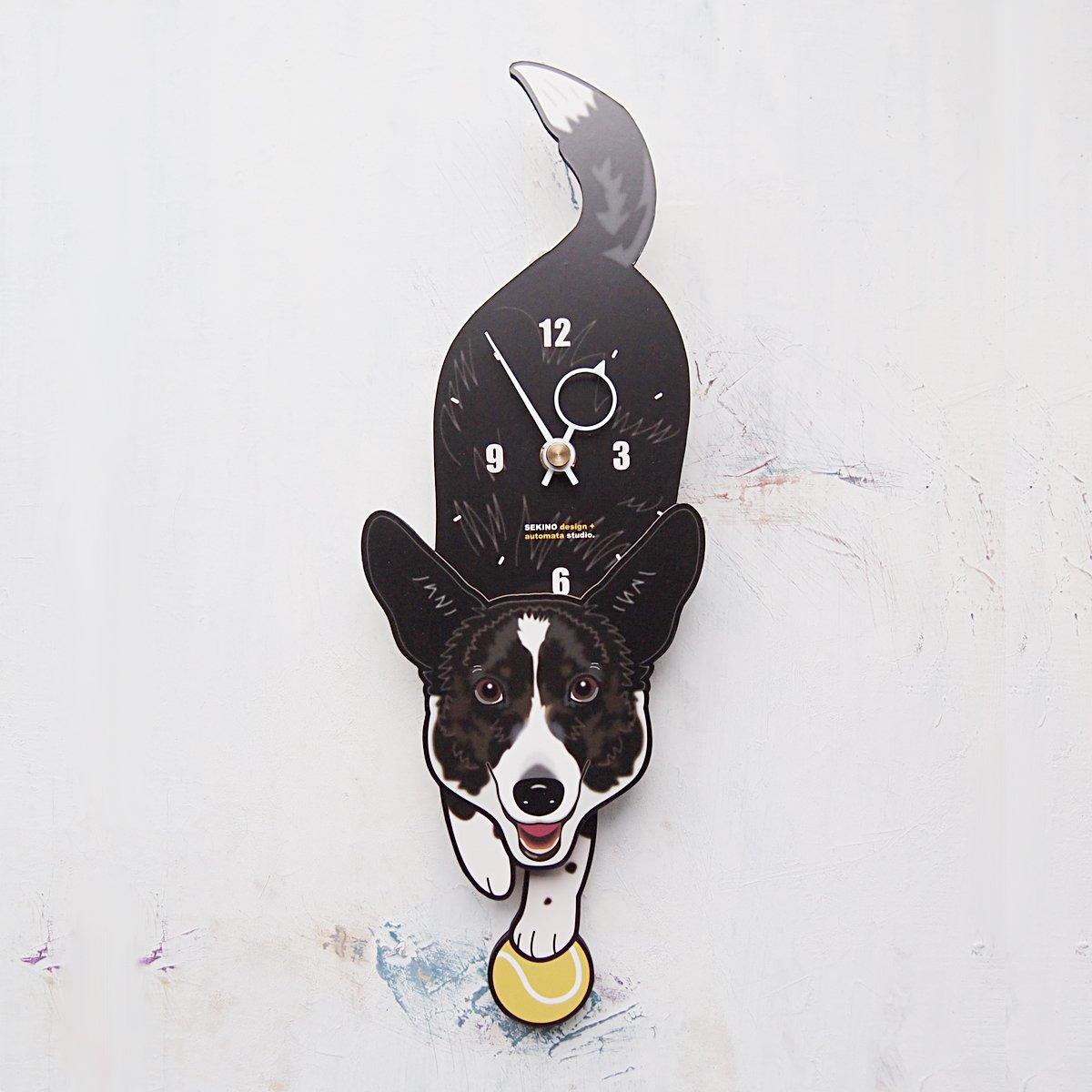 D-106 コーギー(白黒)-犬の振り子時計 B01LYDNAFQ