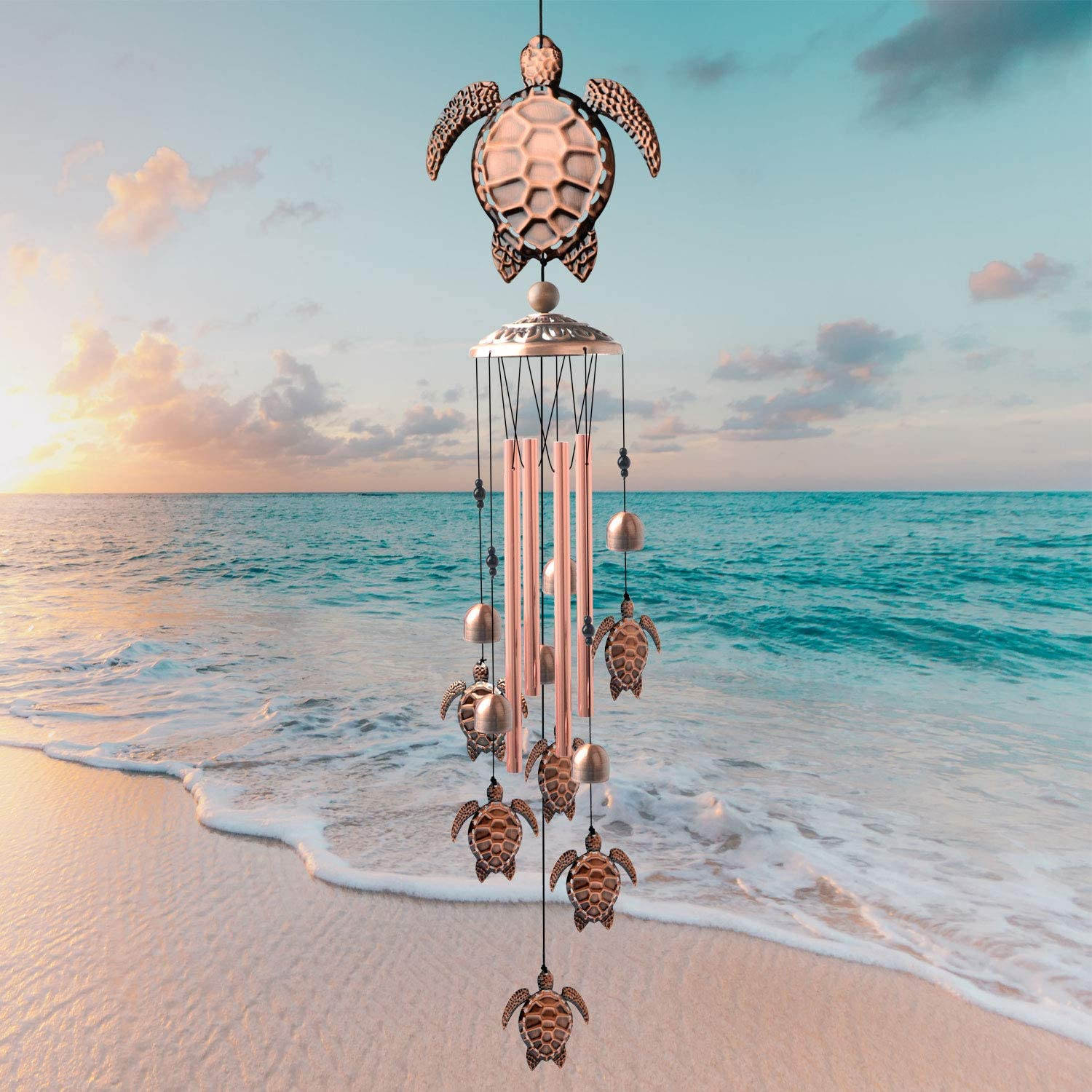 JOBOSI Tortoise Wind Chimes, Wind Chimes Outdoor, Copper Wind Chime, Memorial Wind Chimes, Wind Bell, Garden Yard Decor, Gifts for mom, Gifts for Grandma, Thanksgiving Gifts Garden Gift