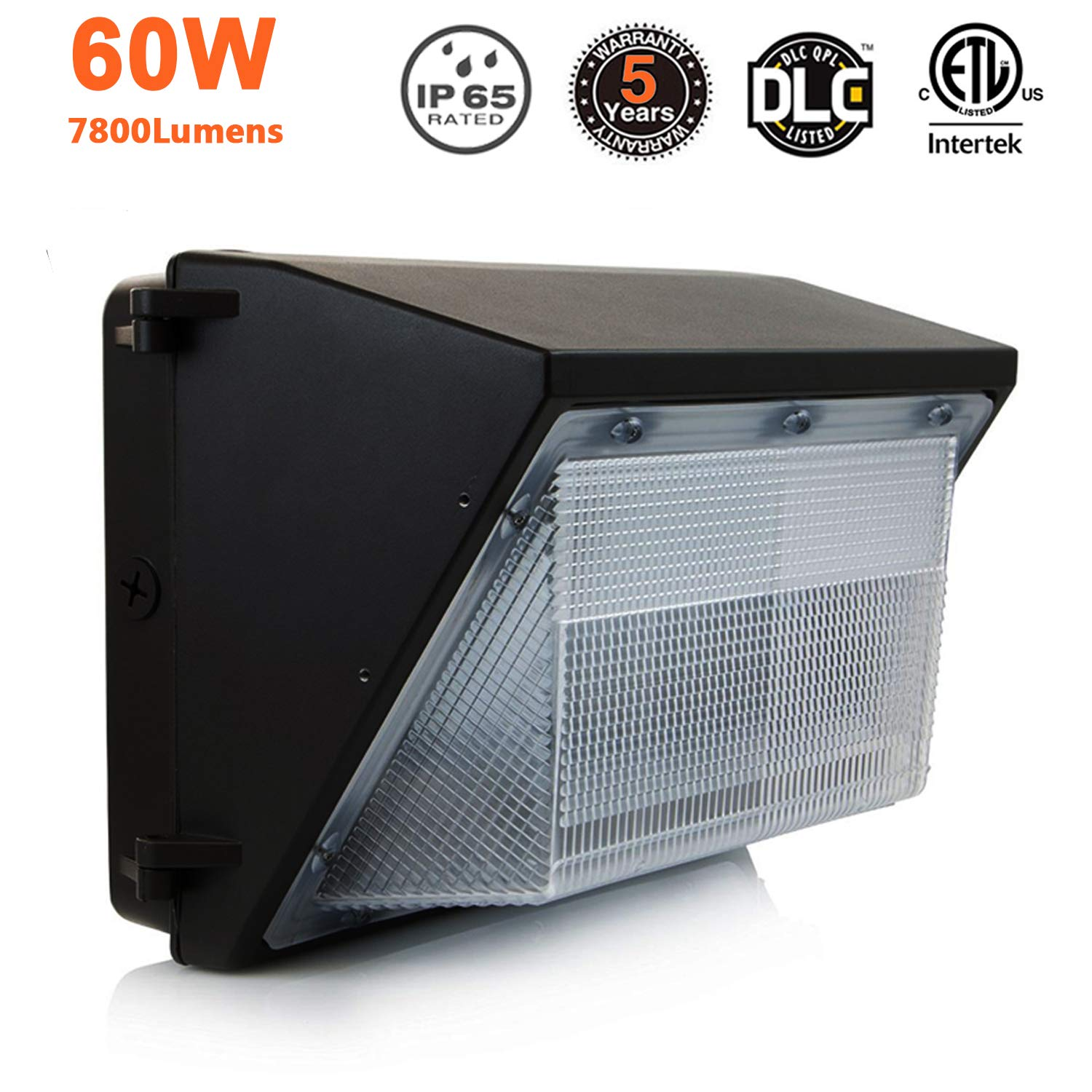 LED Wall Pack Light 60W,Commercial and Industrial Outdoor Lighting,7800 Lumens,IP65 Waterproof,300~400W HPS/HID Replacement,Security LED Light Fixture for Building Home Security & Walkways,ETL & DLC