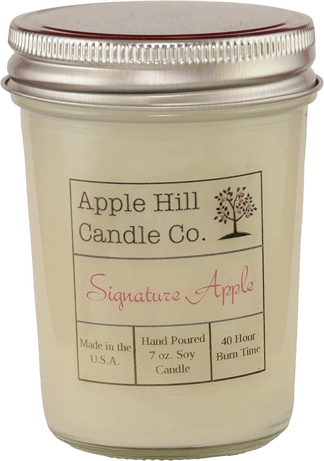 Apple Hill Candle Co Natural Scented Soy Candle - Signature Apple (7 oz.)   30-40 Hour Burn Time