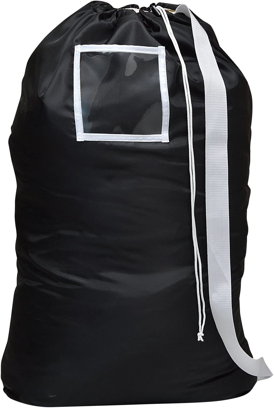 Carry Laundry Bag From Handy Laundry with Shoulder Strap, Large Size 24 Inches X 36 Inches, Commercial Grade 100% Nylon and Made in the USA - Designed for Heavy Duty Use - College Laundry Bag - Trips to Laundromat - Household Storage (Black)