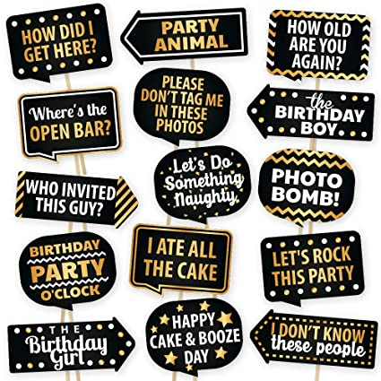 Happy Birthday Photo Booth Props By PartyGraphix - European Made Black And  Gold Selfie Props Birthday Decorations - Easy To Assemble Birthday Party