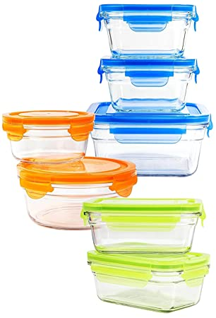 Snaplock Lid Tempered Glasslock Storage Containers Assorted Color Lids 14pc  Set Combo With Gift Box