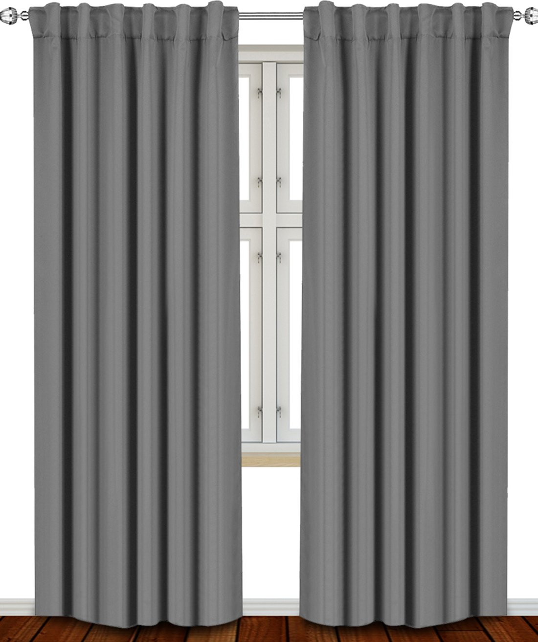 Blackout Room Darkening Curtains Window Panel Drapes Grey - 2 Panel Set 52x84 Inch-By Utopia Bedding