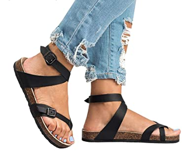 77afca6a5d20e 2018 Summer Gladiator Women Shoes Roman Sandals Shoes Buckle Peep-Toe Flat  Shoes Woman Sandalias