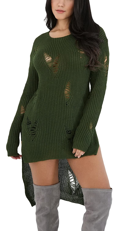 La Vogue Long Sleeve Knit Jumper Ladies Hi-Lo Distress Sweater Top   Amazon.co.uk  Clothing b4da804ba
