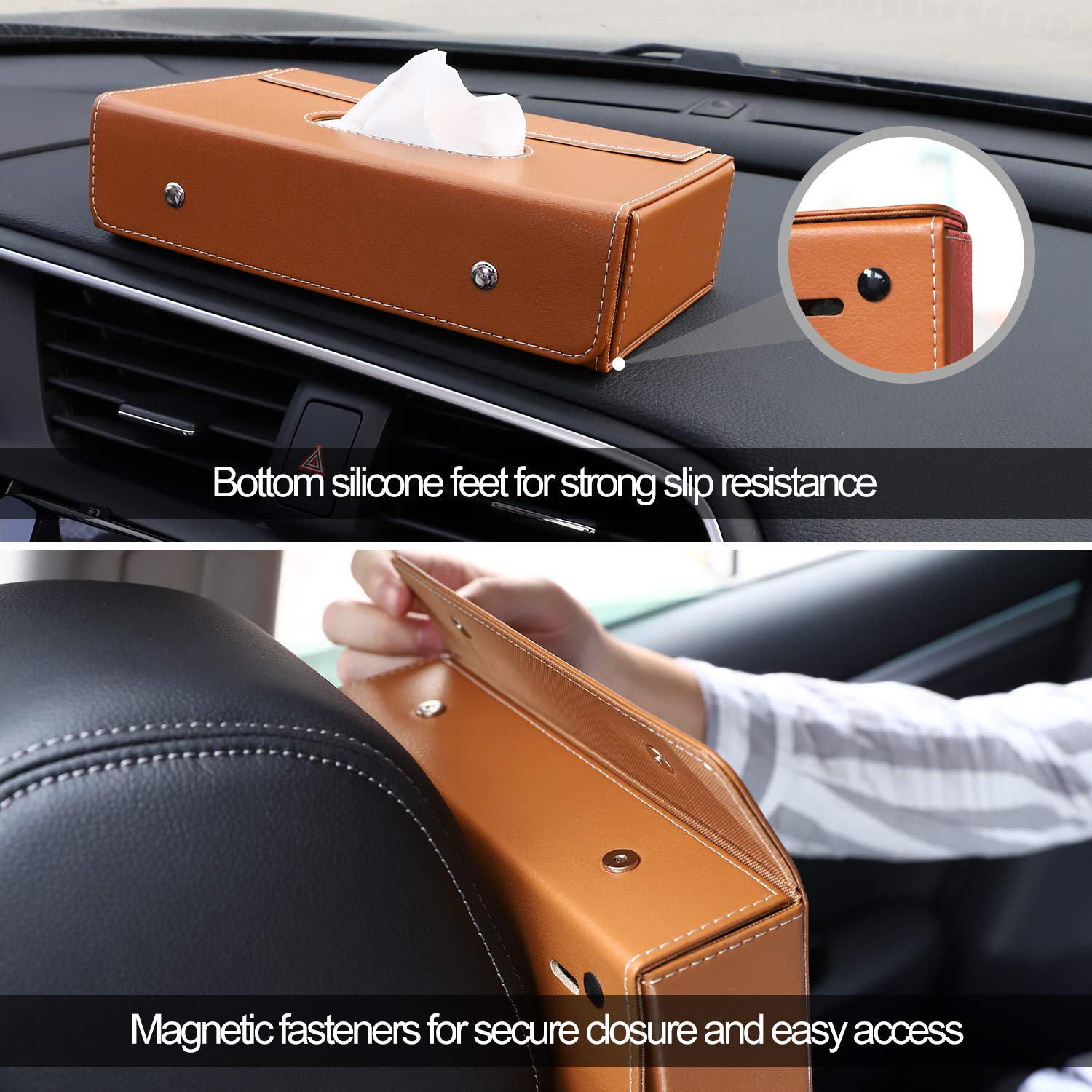 Premium PU Leather Auto Foldable Hanging Paper Organizer Towel Napkin Pumping Box with Anti-Slip Silicone Pad and Magnetic Buckle for Car Home Office Use Brown MoKo Car Sun Visor Tissue Box Holder