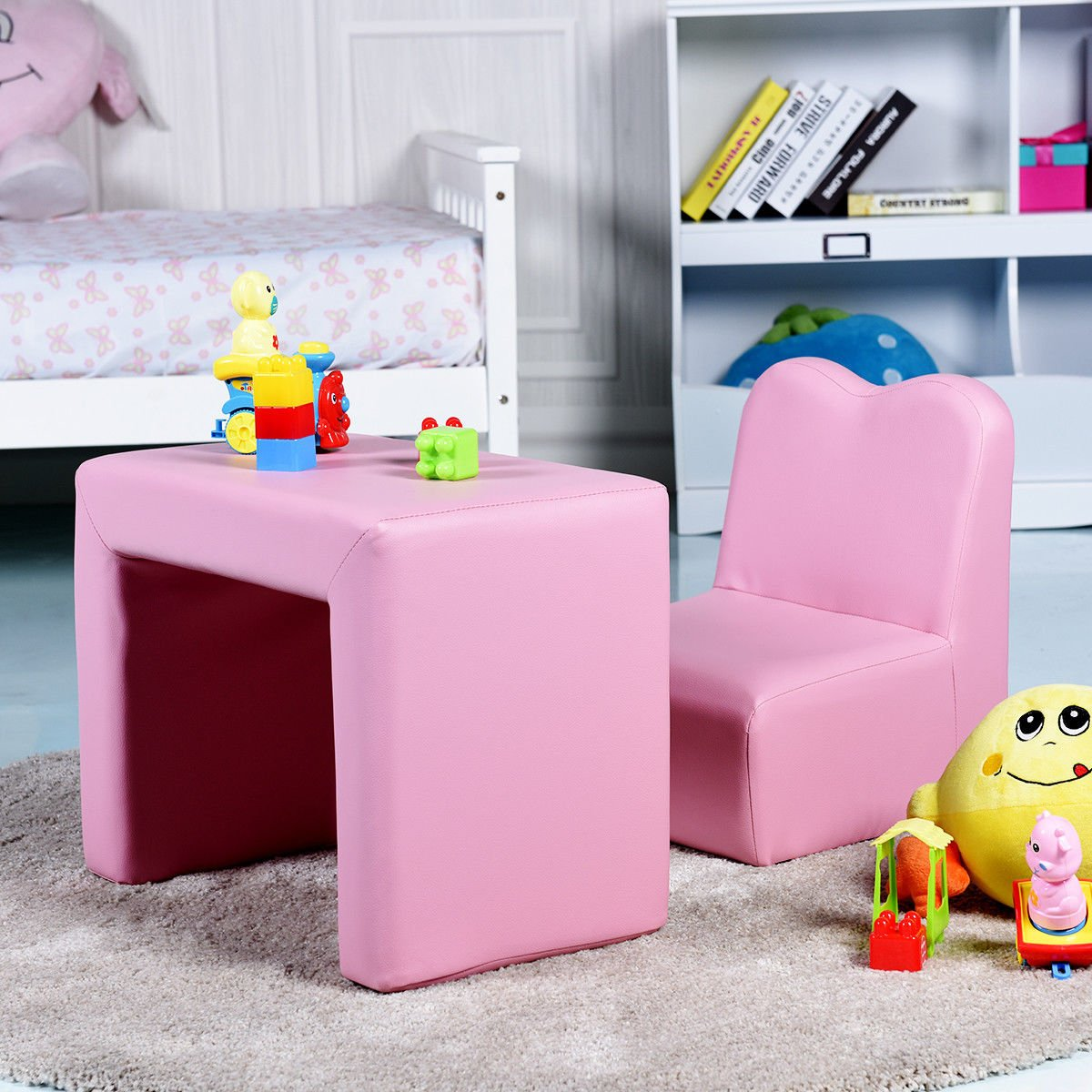 Costzon Kids Sofa, 2-IN-1 Multi-Functional Kids Table & Chair Set, Sturdy Wood Construction, Armrest Chair for Boys & Girls (Pink) by Costzon