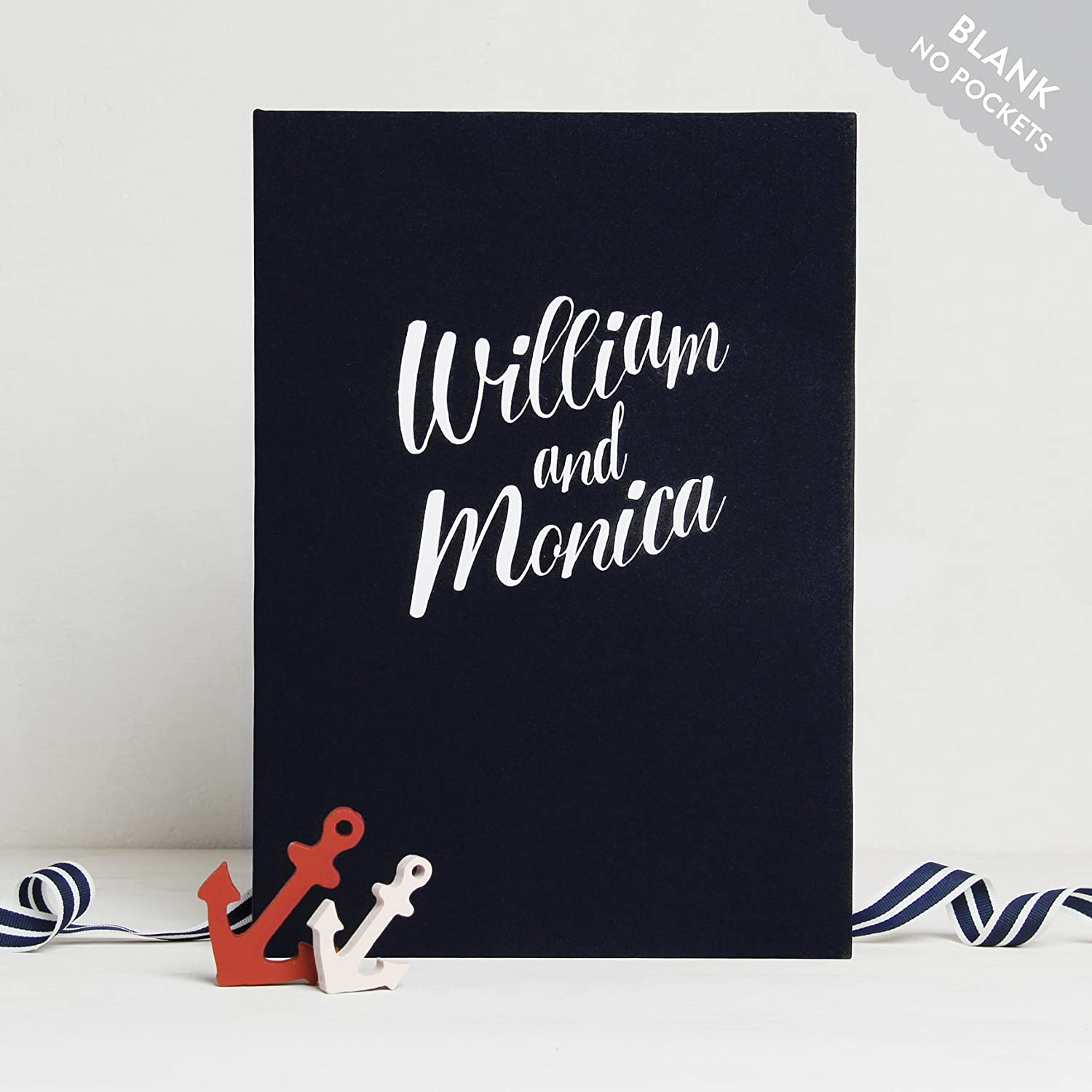 Wedding Instant Guestbook Nautical with White Lettering Sign in Book- with empty pages