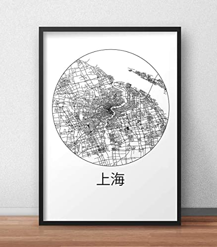 Plakat Shanghai China Minimalist Map - Poster, City Map, Dekoration ...