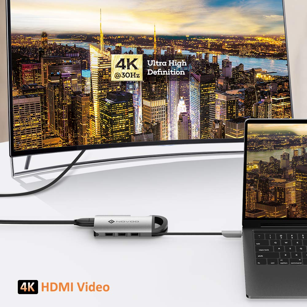 NOVOO USB C Hub Tipo C Adaptador con USB C Carga de Energía(PD), 4K HDMI, 3 USB 3.0, Lector de Trajeta SD/TF, 1000M Ethernet para MacBook Pro ...