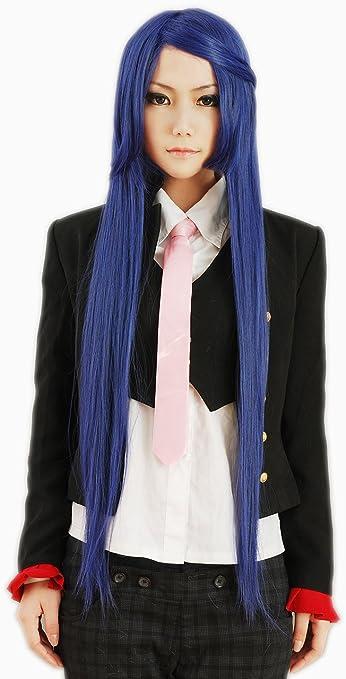 HOOLAZA peluca cosplay larga recta azul y negra mezclada Hyuga Hinata peluca cosplay: Amazon.es: Belleza