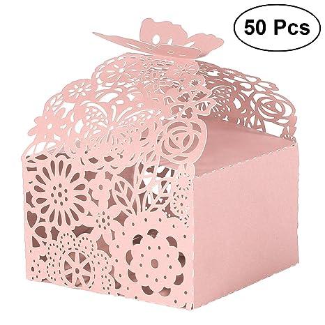 ideali per celebrazioni quali matrimonio nascita rose 50 scatole decorative con farfalla per confetti battesimo