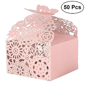 LUOEM Cajas de Caramelos Bombones Dulce Chocolate de Papel de Mariposas Cajas de Regalo para Fiesta Boda Decoraciones del Regalo de Cumpleaños Rosa 50 ...
