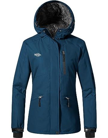 Wantdo Women s Windproof Ski Jacket Mountain Warm Raincoat Hooded Parka Waterproof  Winter Coat with Fleece Lining 7de8d5a60