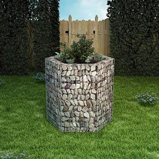 yorten Jardinera Hexagonal de Gaviones 100x90x100 cm Capacidad de ...