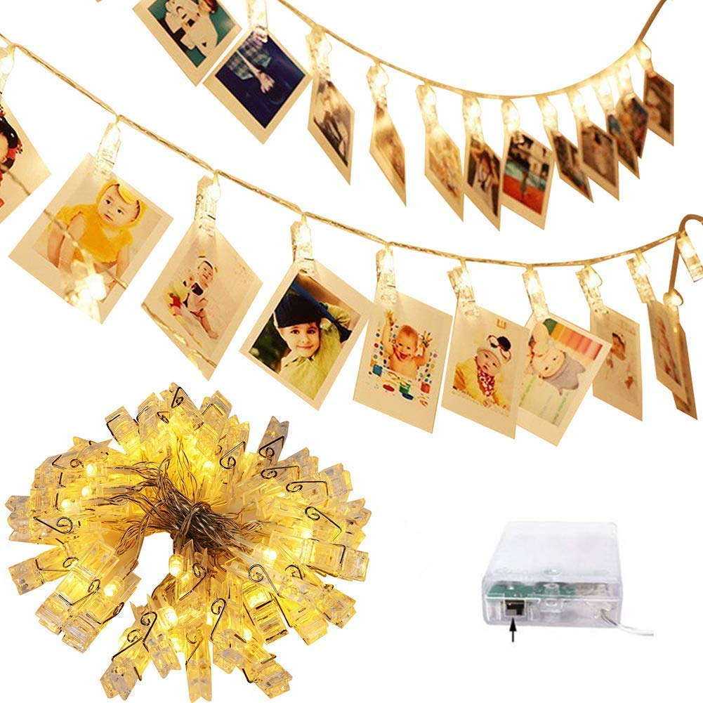 cuzile Battery Powered Photo Clips String Lights 2 * 10 LED Christmas Lights Starry Light Wall Decoration Light for Hanging Photos Paintings Pictures Card and Memos