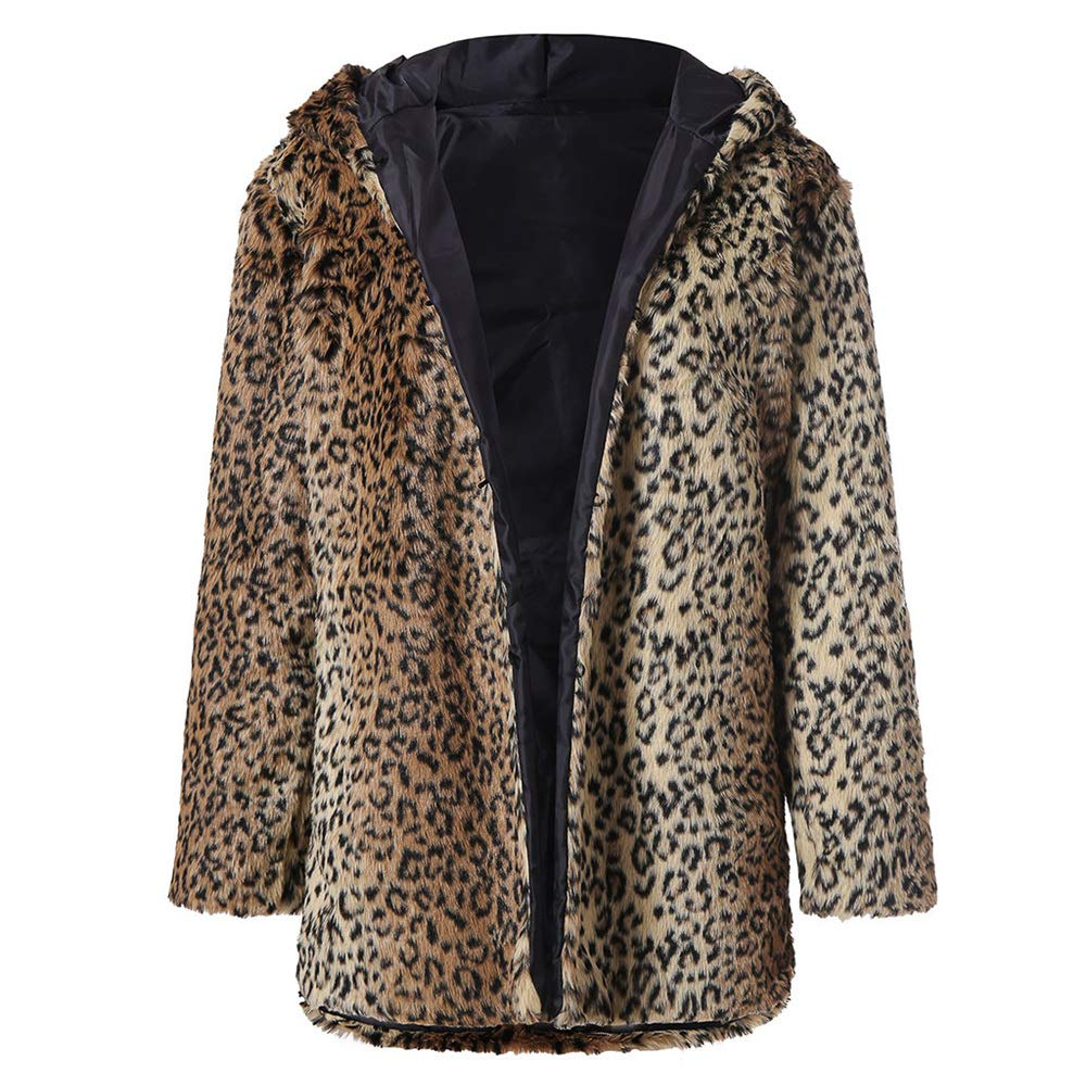 Quelife Women's Fashion Leopard Printwinter Hooded Long Sleeve Warm Coat(Brown,L)