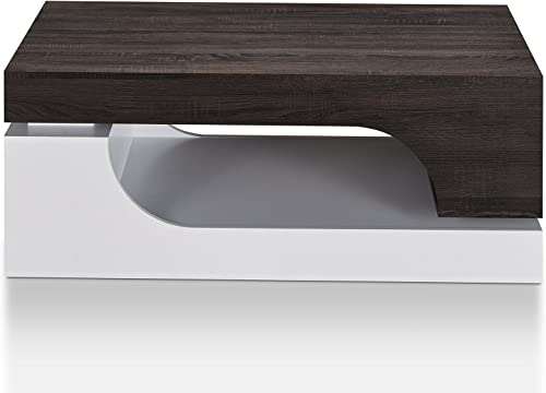 ioHOMES Jepson Modern Curved Design Coffee Table with Two Drop-Down Storage and Open Shelves, 47 , Distressed Dark Walnut and White