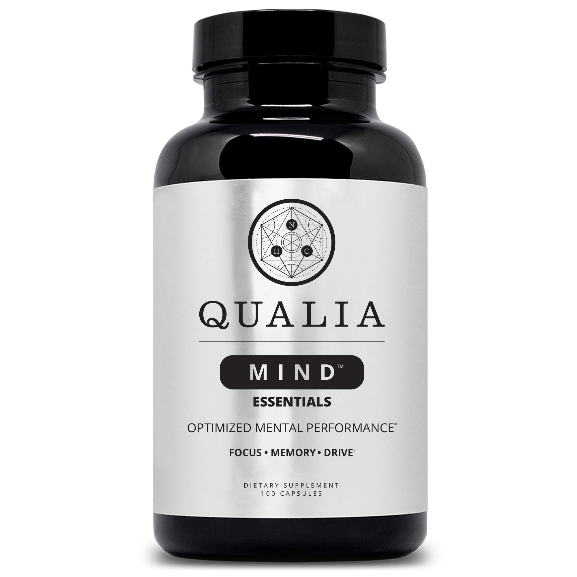 Qualia Mind Essentials Nootropics 100ct | The Brain Supplement for Focus, Supporting Memory, Mental Clarity, Energy, Reasoning, and Concentration with Ginkgo biloba, Bacopa monnieri, Celastrus