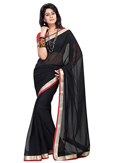 de8883022cf63a Florence Women's Black Georgette Lace Work Printed Saree With Blouse (FL-1450-B-MAR2019,Black,Free Size): Amazon.in: Clothing & Accessories