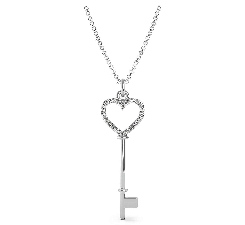 Frostrox Sterling Silver 0.10 Carat Round Cut Open Heart Key Diamond Pendant