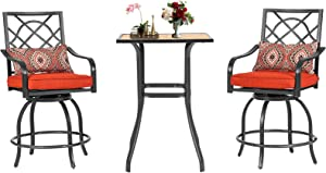 Patiomore 3-Piece Patio Bar Set, Wood-Like Tabletop Bar Table Without Umbrella Hole& 2 Swivel Bar Stools, Outdoor Bar Height Furniture Set with Removable Cushions for Backyards, Gardens or Poolside