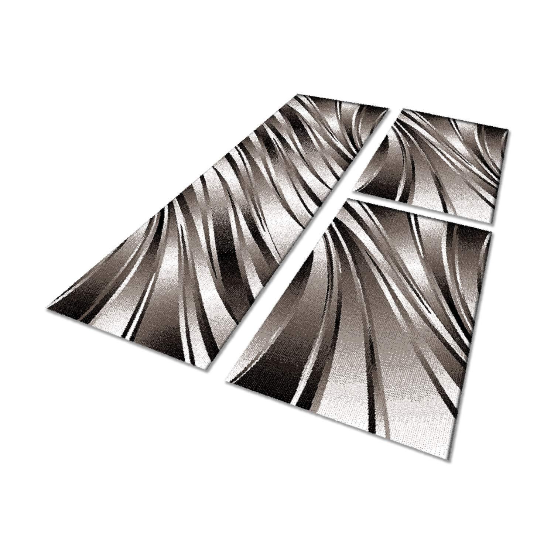 HomebyHome Moderner Wellen Design Konturschnitt Teppich 3TLG Bettumrandung Läufer Set Schlafzimmer Flur Schwarz Braun Weiss meliert, Bettset 2 x 80x150 cm + 1 x 80x300 cm