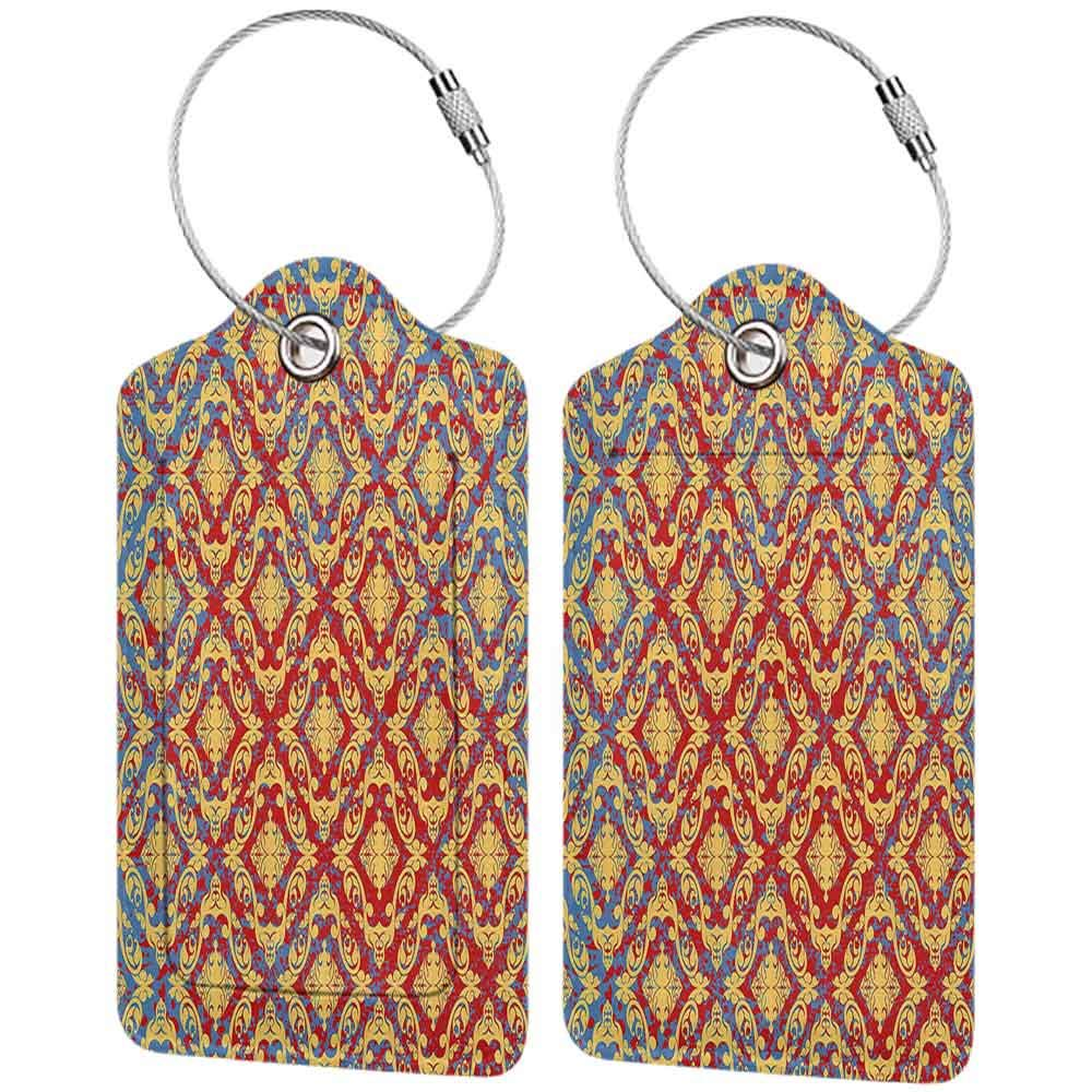 Multi-patterned luggage tag Damask Decor Vintage Victorian Pattern with Embellished Floral Antique Forms Kitsch Design Double-sided printing Yellow Red W2.7 x L4.6