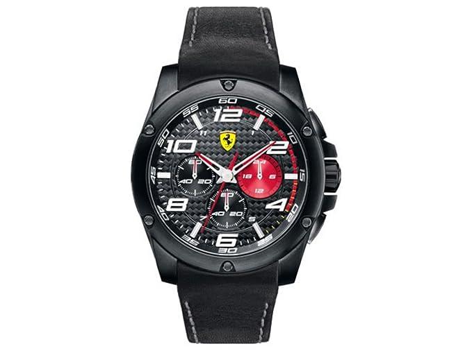 Ferrari 830030 - Reloj analógico de cuarzo para hombre, correa de cuero color negro (