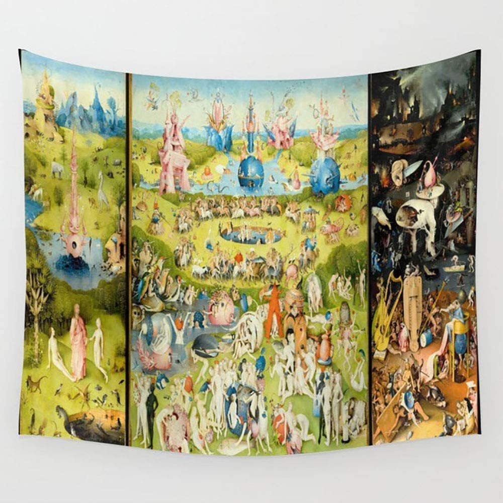 Hanging Room Bedspread Picnic Bed Sheet, Wall Tapestry with Art Nature Home Decorations for Living Room Bedroom Dorm Decor (The Garden of Earthly Delights by Bosch, 203x152cm/80x60in)