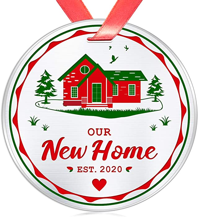 Elegant Chef New Home Christmas Ornament- Our New Home Est. 2020- Housewarming House Owner Keepsake Bridal Shower Wedding Gifts- 1st time Homeowner Real Estate Closing Gift- 3 inch Stainless Steel