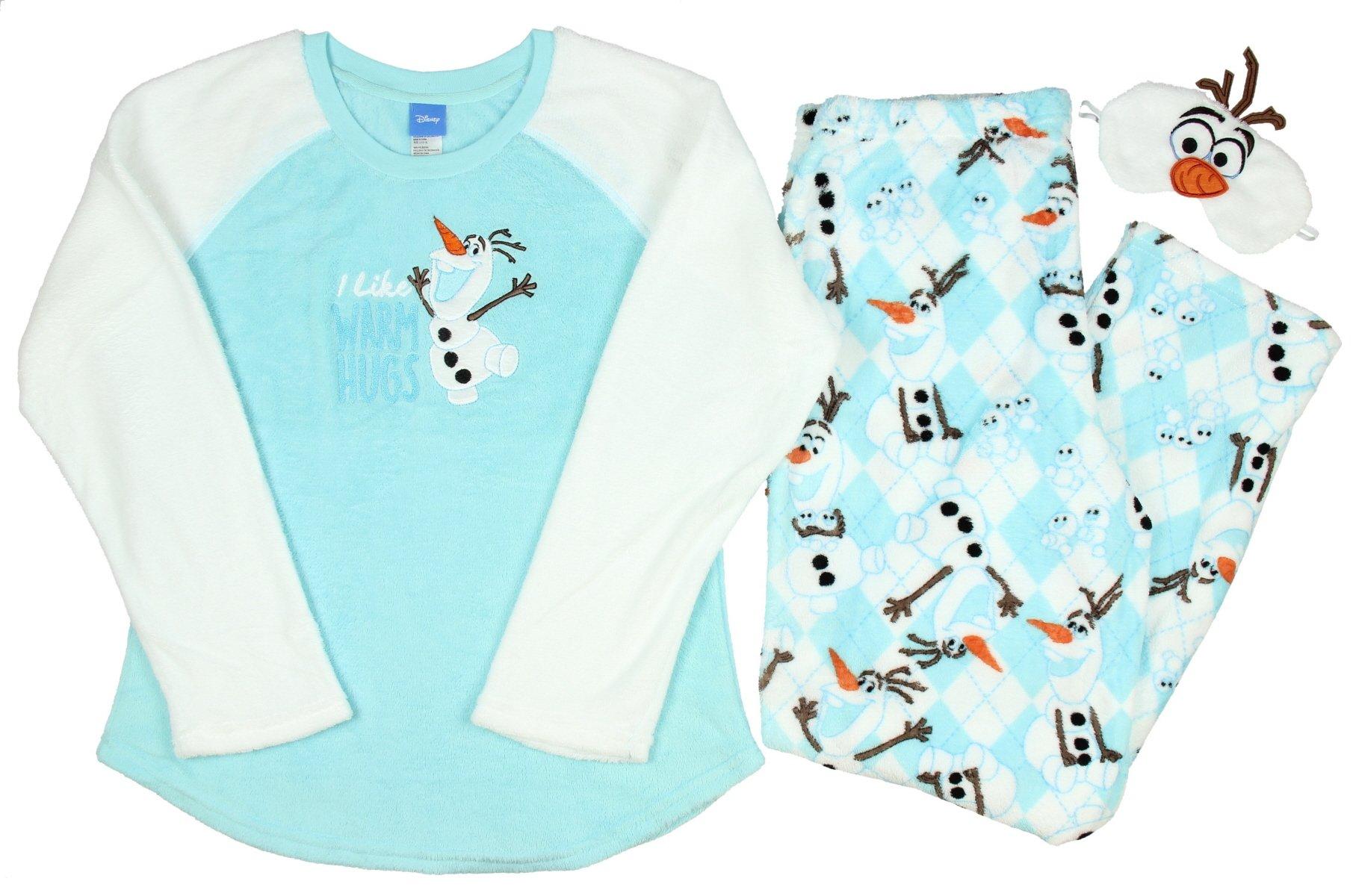 Disney Frozen Olaf Women's 3 Piece Plush Fleece Pajama Gift Set (L 12/14)