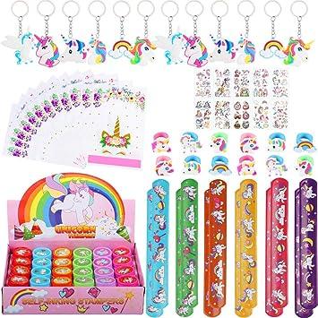 82 Piezas Artículos de Fiesta Unicornio Cumpleaños Niños, Llavero Unicornio Bolsa de Fiesta Pulseras Bofetada Tatuajes Temporales Sellos Unicornio ...