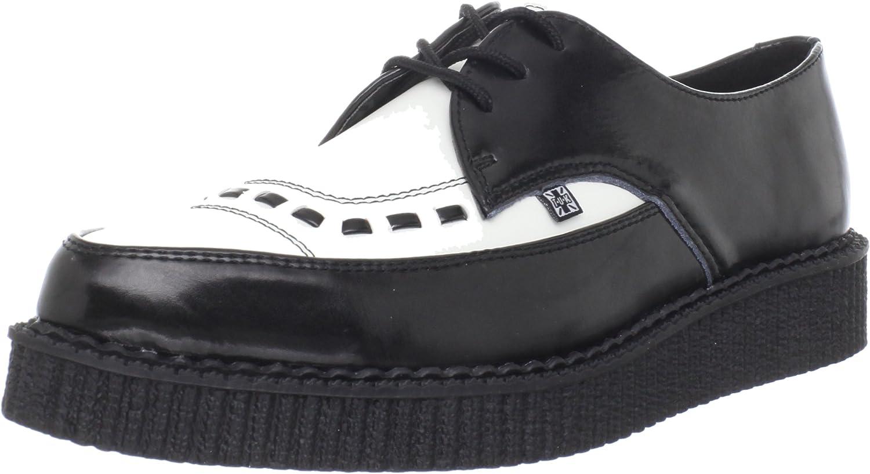 TALLA 43 EU. TUK Pointed Toe Creepers A8140_Noir (Black/White Black) - Zapatos de Cuero para Hombre